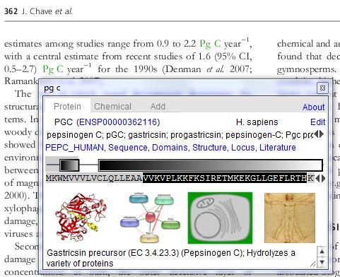"""Exemple d'information obtenue sur la protéine """"PgC"""" après une annotation par Reflect"""