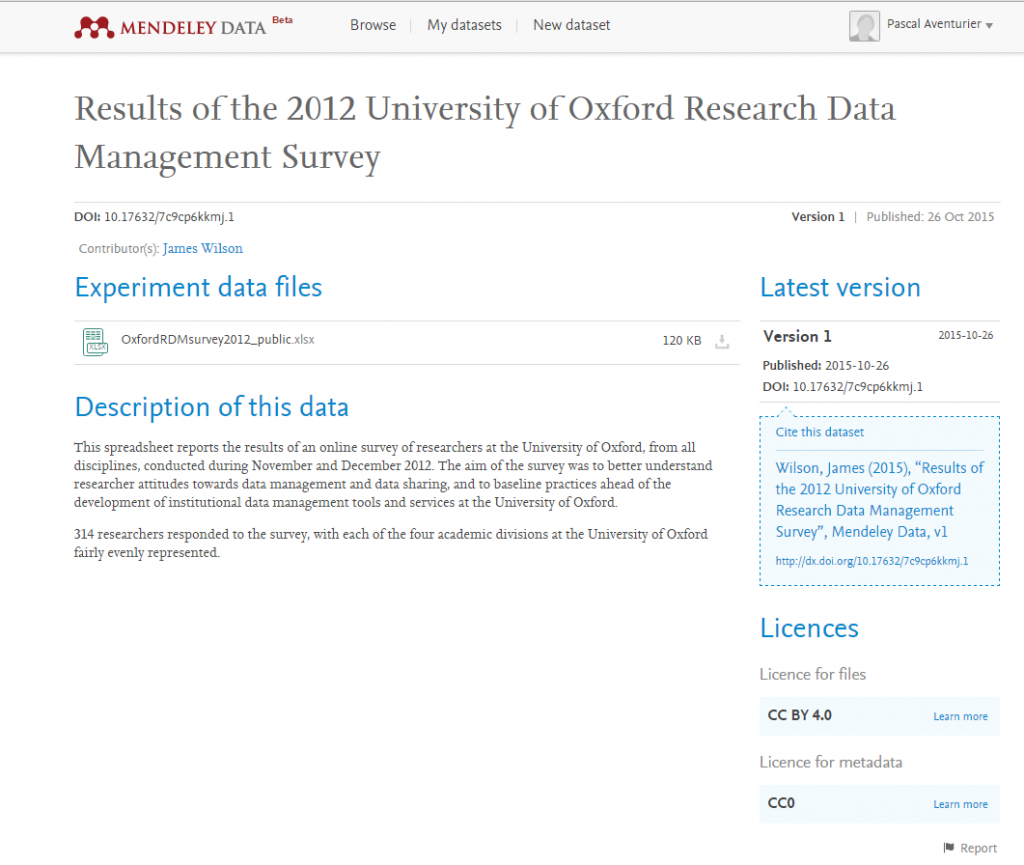 un exemple de dataset dans Mendeley Data