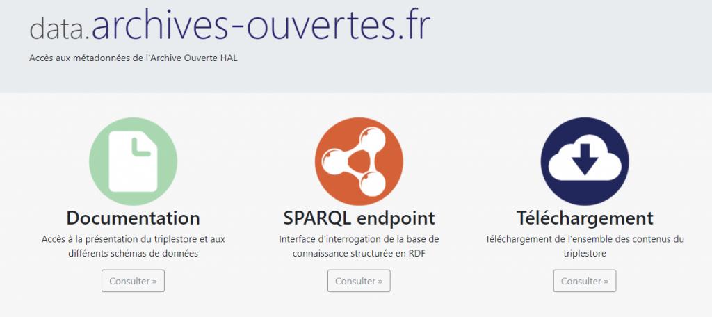 L'interface du portail de données data.archives-ouvertes.fr